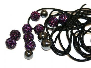 DIY Pave Crystal Bracelet Kit - Dark purple - SC